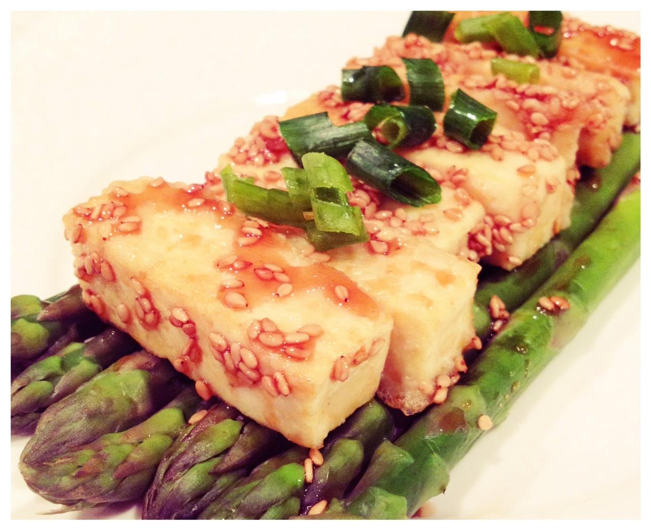 Sesame Tofu with Steamed Asparagus